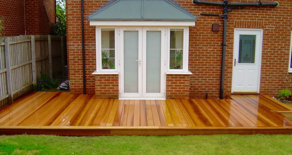 Cedar wood garden decking in darlington green onion for Garden decking quotes uk
