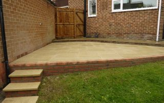 Garden fence gate & patio- Fencing- fence- gate- patio area- turfing- landscapers in Stockton- Green- Onion- Landscaping