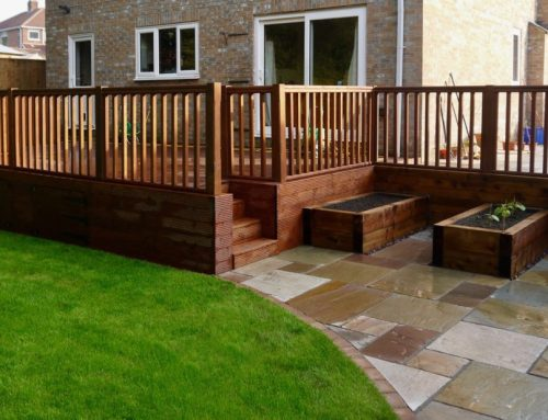 Curved decking green onion landscaping for Garden decking middlesbrough