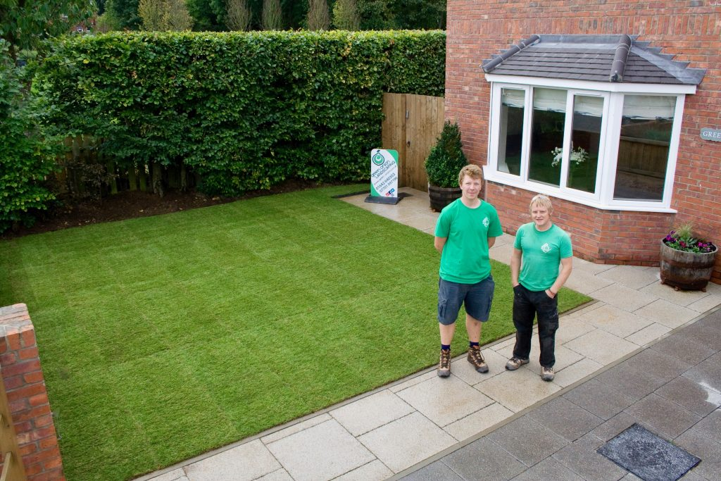 Turfing, turfed, grass, Rowlawn, Turfed lawn, new lawn, Landscapers, landscaping, garden design, Stockton, Middlesbrough, Darlington, Teesside,