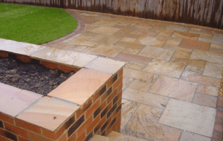Garden design, landscape garden design, sandstone patio, brick walls, turfing,landscapers Stockton, Green Onion Landscaping