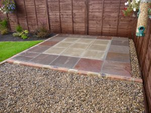 small patio, sandstone patio, edging, brickwork, gravel, turfing, borders, landscaping, landscapers, northeast, Stockton, darlington, Middlesbrough, Teesside