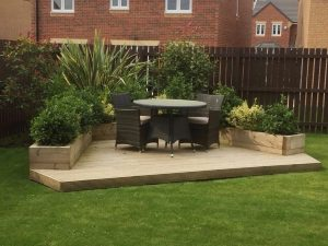 decking, garden deck, decked area, softwood decking, timber decking, Yarm, Stockton, Darlington, Teesside, Teesvalley, Green Onion Landscaping, turfing, landscaping, landscapers, alfresco eating area, garden design, planting, Middlesbrough, Durham, North Yorkshire,