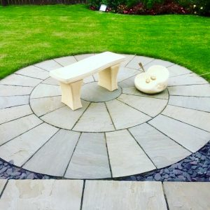 Patios, Paving, patios paving, circular patio, round patio, sandstone, seating area, garden design, landscaping, landscapers, Green Onion landscaping, Yarm, Stockton, Teesside, darlington, Middlesbrough, Durham, Stokesley, Hutton Rudby, Marske, paving, design,