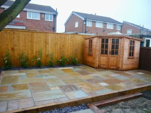 sandstone patio, patios paving, patio area, shed, slate, landscaping, landscapers, Green Onion landscaping, Teesside, Tees Valley, Durham, North Yorkshire, Hartburn, Stockton, Fairfield, Norton, Wynyard, Stillington, Stainton, Carlton, Hutton Rudby, Design, patio, paving ideas,