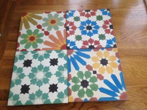 Encaustic tiles, Moroccan tiles, patchwork tiles, handmade, paving, out door, moroccan garden, Teesside, Stockton, Yarm, Ingleby Barwick,