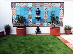 Green Onion Landscaping, Moroccan tiles, patios, outdoor tiles, tiled areas, tiled wall in garden, encaustic tiles, cement tiles, garden design, Middlesbrough, Yarm, Stockton, North East,
