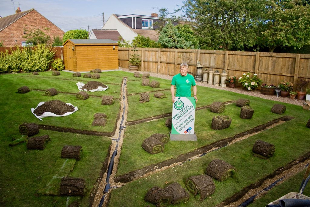Garden drainage, garden flooding, water pooling, water logging, flooding, spider network system, French drainage system, sump holes, soak aways, land drains, Landscapers, drainage experts, drainage installers, North East, Stockton, Durham, Middlesbrough, Teesside, Stockton, Darlington, Green Onion Landscaping