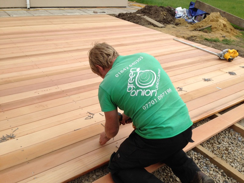 hard and soft landscaping, Green Onion Landscaping, Cedarwood decking, hard landscaping, landscapers Stockton
