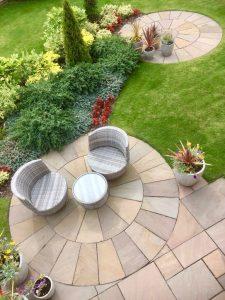 circular patios, alfresco dining, landscaping, garden design, seated area, turfing, planting, shrubs, design, Green Onion Landscaping, Yarm, Teesside, Tees Valley, Durham, Yorkshire,
