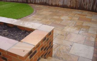 Garden design, landscape garden design, sandstone patio, brick walls, turfing,landscapers Stockton, Green Onion Landscaping