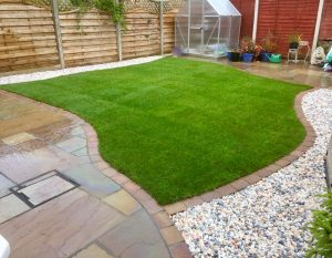 turfing, turfed, lawn, Rowlawn, Teesside, Teesvalley, Durham, North Yorkshire, Cobbled edge, gravel, Green Onion Landscaping, Garden design, landscapers,