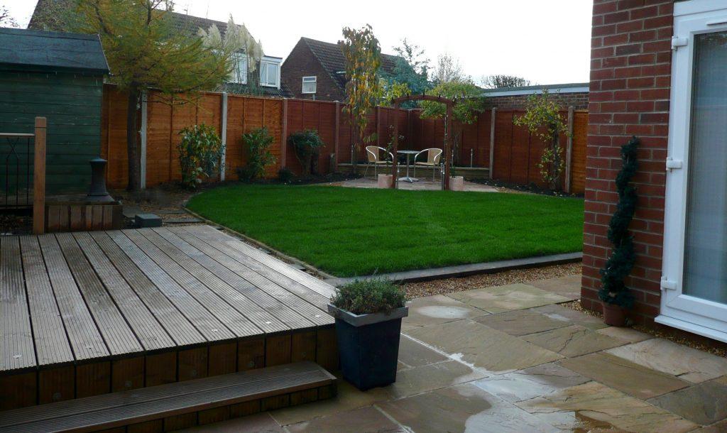 Romantic garden design Stockton, Teesside, landscaping, patio, sandstone patio, archway, garden arch, brick walls. turfing, lawn, Green Onion Landscaping, landscapers