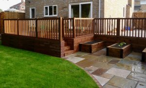 garden storage, decking, decked area, balustrade, steps, garden lighting, garden design, landscapers in Stockton, Green Onion landscaping, Paving, Turfing, Garden design,
