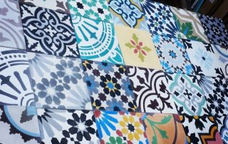 Moroccan tiles, encaustica tiles, landscaping, cement tiles, patchwork, kitchen, bathroom, patios, paved areas, quirky garden, Stockton, Middlesbrough, darlington, Teesside