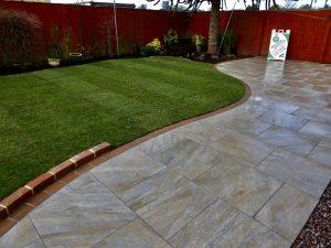 Porcelain slabs, porcelain paving, turfing, garden design, Green Onion Landscaping, Teesside, Stockton, Norton, Wynyard, turfed lawn, Rowlawn turf,