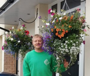 large, multi-floral, hanging baskets, premium, beautiful, colourful, local, darlington, Middlesbrough, Teesside, Yarm, Ingleby Barwick, Redcar, Green Onion landscaping, landscapers, landscaping, trailing flowers,