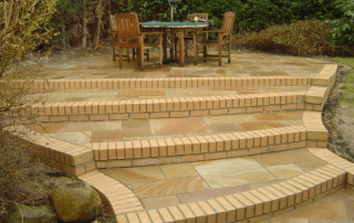 Sandstone Patio, Green Onion Landscaping, steps, turfing, garden design, Teesside landscapers